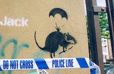 Banksy Rat on a parachute