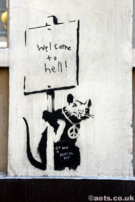 Banksy welcome to hell rat with placard