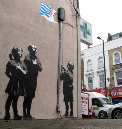 Banksy kids pledging their allegiance to Tesco