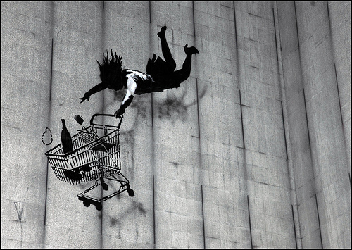 Banksy - Falling Shopper