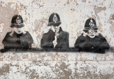 Three wise coppers stencil