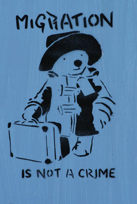 Migration is not a crime stencil _ paddington bear