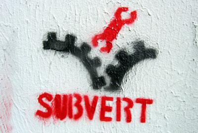 Subvert stencil, Bristol UK