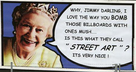 Jimmy Cauty Queen street art billboard