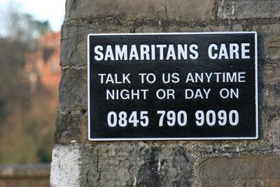 Clifton Suspension Bridge Samaritans Sign