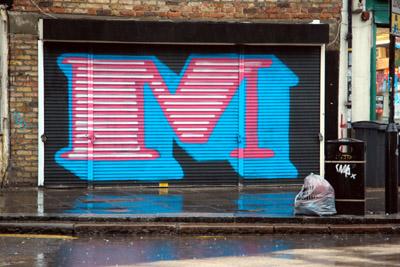 Eine letter M graffiti