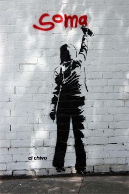 El Chivo soma stencil graffiti