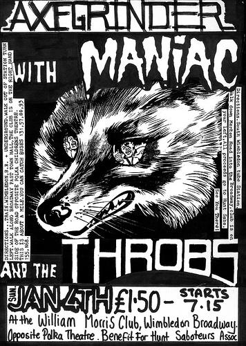 Axegrinder, Maniac, Throbs gig flyer