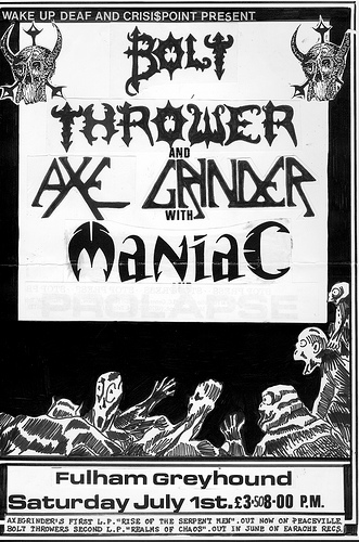 Gig Flyer for Bolt Thrower, Axegrinder and Maniac at the Fulham Greyhound