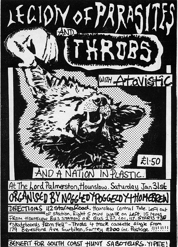 Legion of Parasites, Throbs, Atavistic gig flyer for Hounslow