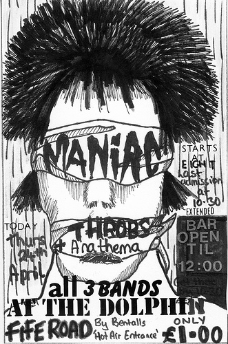 Maniac, Throbs and Anathema flyer for the Dolphin, Kingston