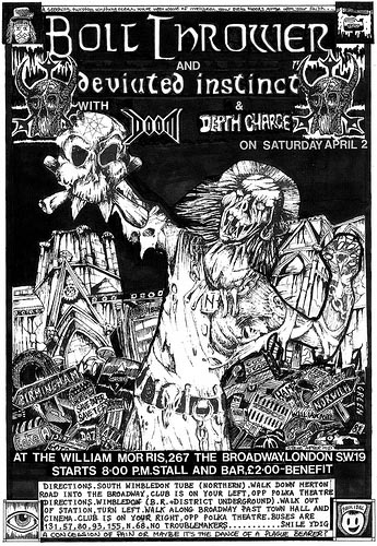 Gig Flyer for Bolt Thrower, Deviated Instinct, Doom and Depth Charge in Wimbledon
