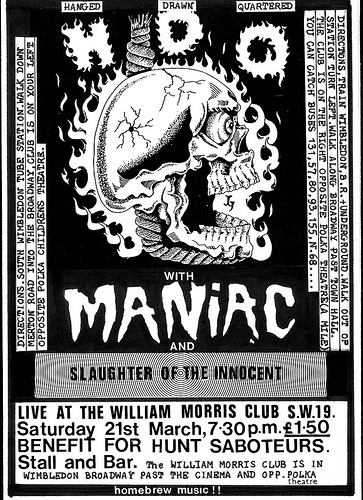 HDQ, Maniac and Slaughter Of The innocent punk band flyer