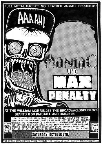 Maniac punk band and Max Penalty gig flyer