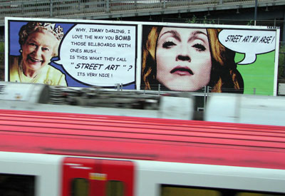 Jimmy Cauty Queen and Madonna billboard