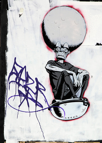 Mekon stencil graffiti by Leeks