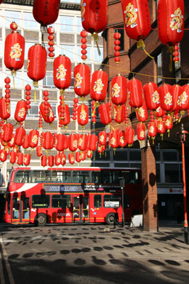 Decorations the morning after Chinese New Year, London