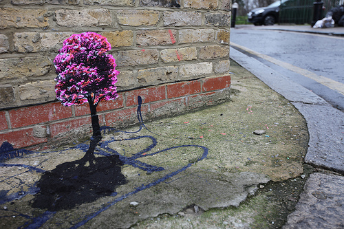 Pablo Delgado _ Pink tree with shadow street art