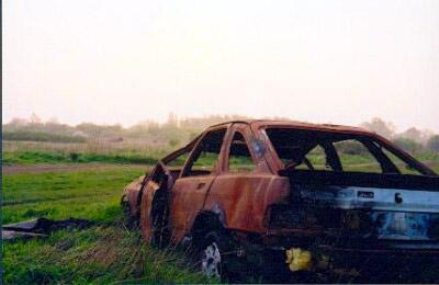 Burnt out car, Feltham