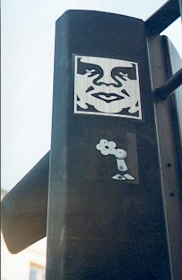 Obey sticker graffiti
