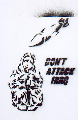 Dont attack Iraq graffiti, London