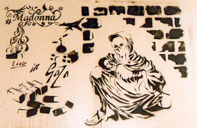 Madonna Live In Gaza _ london bridge stencil graffiti