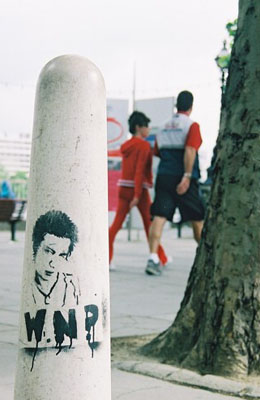 Sid Vicious stencil, South Bank, London