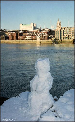 London Millennium Bridge with Snow