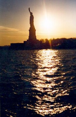 New York Statue of Liberty sunset