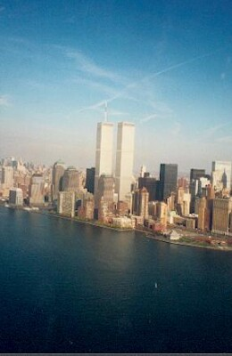 NYC Twin towers from helicopter
