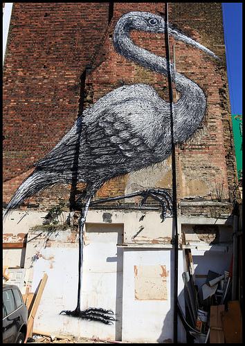 Roa stork graffiti