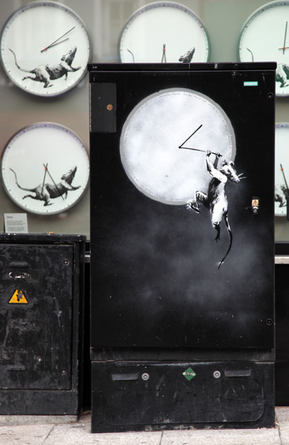 Banksy rat art on junction box