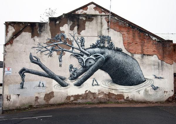 Phlegm street art in Birmingham