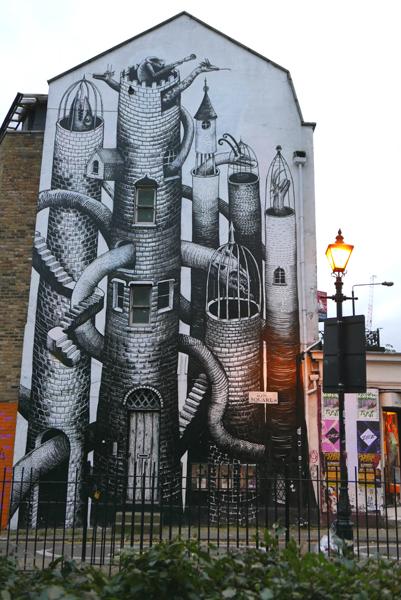Phlegm street art in Hackney