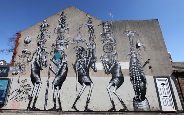 Phlegm street art in Sheffield