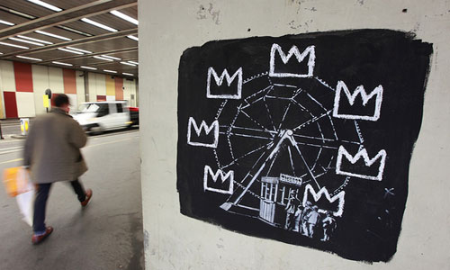 Banksy Basquiat pieces at the Barbican