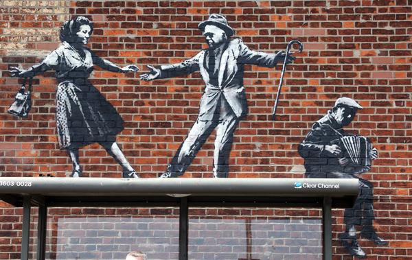 Banksy bus stop dancers detail